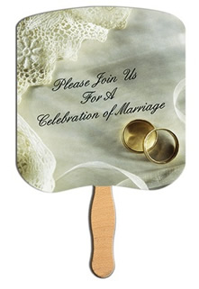 Celebration of Marriage Wedding Rings Hand Fan