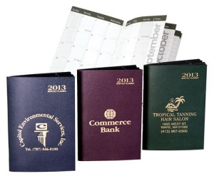 Customized 2013 Monthly Pocket Calendars in Attache Colors