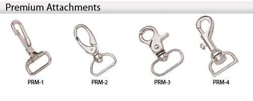 Each Lanyard can be customized and there are several premium attachments whioch can be selected instead of the standard attachments. Call 706-374-0710 for assistance and a Free Quote.