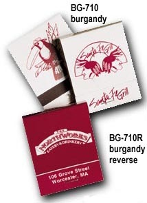 Imprinted Burgundy on Gray Book Matches and Reverse Burgundy