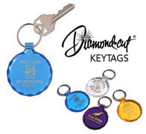 Diamond Cut Plastic Key Tags