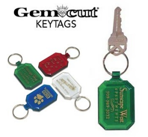Gem Cut Plastic Key Tags