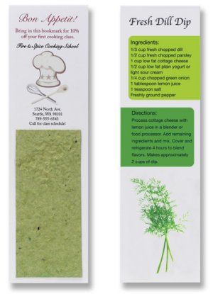 Bookmarks with Herb Seed Paper Insert and Recipe