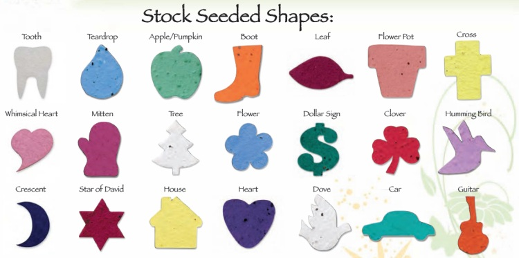 Stock Shapes for Seeded Paper Bookmarks