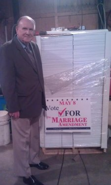 Dr. Baity with Marriage Amendment Signs