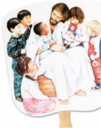 Christ with Children Hand Fan
