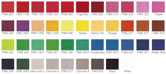 Color Chart for Lanyards