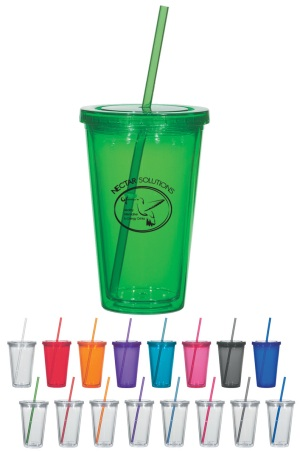 16 oz Double Wall Acrylic Tumblers with Straw