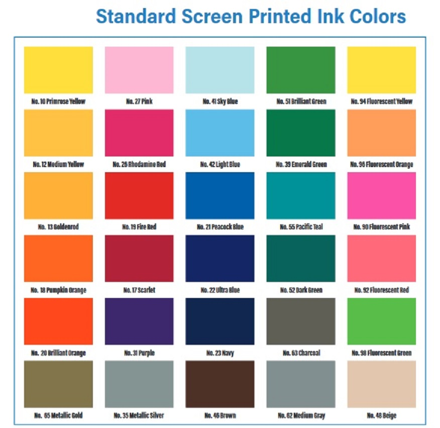 Standard Ink Color Chart for Bumper Stickers
