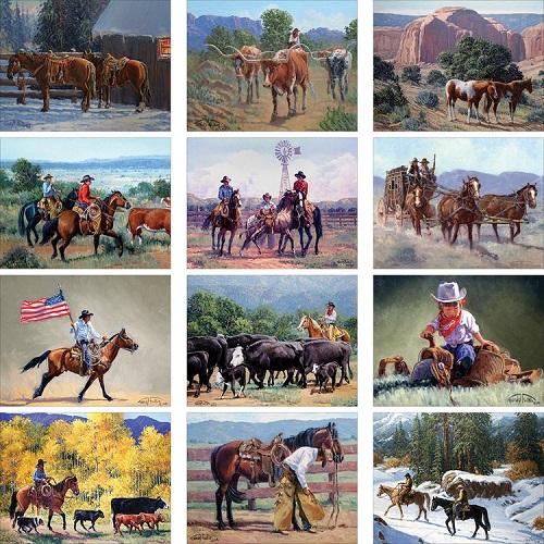 Monthly Scenes of Western Art Wall Calendar