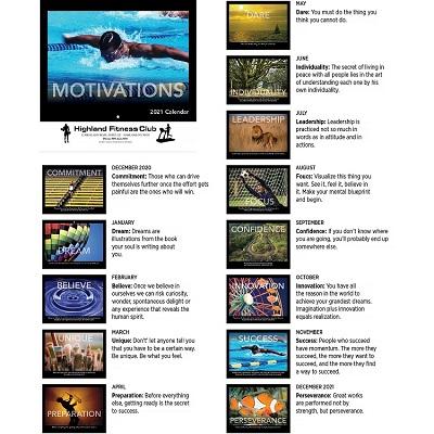 Monthly Scenes of 2021 Motivational Calendar